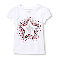 Toddler Girls Americana Short Sleeve Glitter 'All American Cutie' Star Graphic Tee | The Children's Place