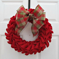 Red Burlap Petal Wreath With Plaid Bow - Christmas Holiday Home Decor - For Her Gift Idea