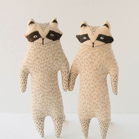 Beige and gray raccoon softie toy - Small woodland animal friend - Embroidered woodland creature
