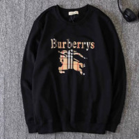 Burberry Autumn And Winter New Fashion Bust Plaid Letter Print Leisure Long Sleeve Top Sweater Black
