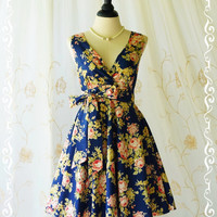 My Lady II Spring Summer Sundress Floral Strapless Dress Floral Navy Dress Party Dress Tea Dress Bridesmaid Dress Floral Summer Dress XS-XL