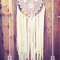 Off White Shabby Chic Heart Crochet Doily Boho Hippie Gypsy Nursery Decor Dreamcatcher