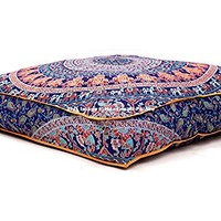 Indian Floor Cushion Cover Blue Peacock Mandala Tapestry Large Square Floor Pillow Cover Ottoman Pouf Bohemian Meditation Seating Throw By Handicraftspalace