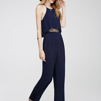 Layered Lace-Paneled Jumpsuit - Clothing - 2000135651 - Forever 21 EU