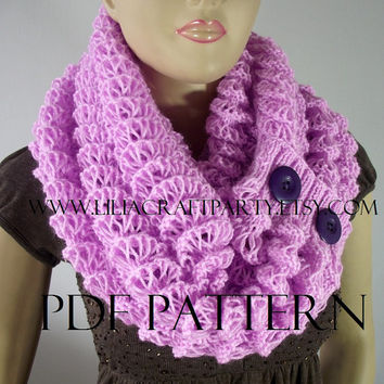 KNITTING PATTERN SCARF - Angel Wings Scarf Cowl - pdf Pattern