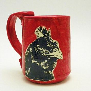 Rooster Ceramic Mug on Ruby Red Made to Order