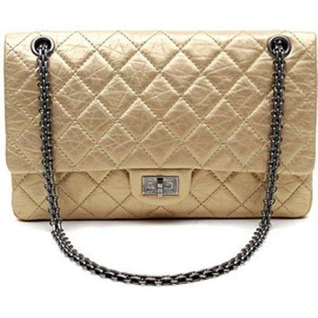 Chanel Auth Soft Gold 2.55 Reissue Double Flap Bag with Gunmetal Hardware-$7980+