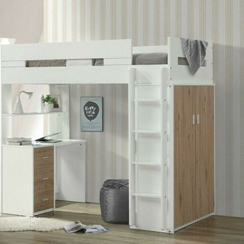 Acme 38055 Nerice white / oak finish wood loft bunk bed set desk drawers armoire