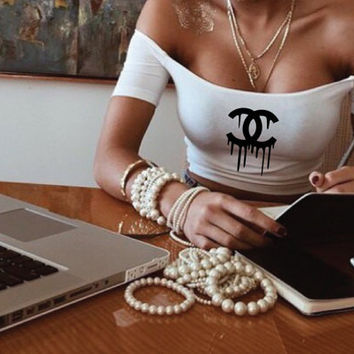 Dripping Chanel Crop Top by Cake Life®
