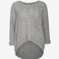 360 SWEATER U NECK CABLE KNIT SWEATER: GREY