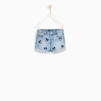 MICKEY MOUSE DENIM SHORTS