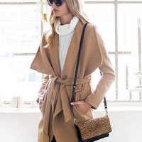 Women's wool coat in a long coat woolen coat