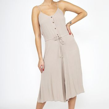 Cropped Jumpsuit - Taupe