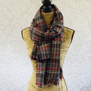 Ready To Ship Limited Edition Oversized 64 X 56 Tartan Blanket Scarf Black Red White Tan Plaid Flannel Winter Fall Accessories