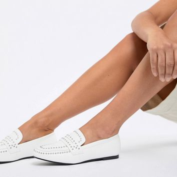 Glamorous White Studded Loafer at asos.com