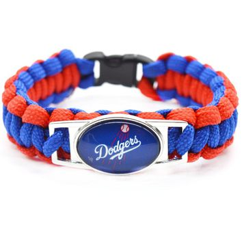 2017 Fashion Baseball Bracelet MLB Los Angeles Dodgers Charm Braided Bracelet for Women Men Bracelet Wide Bangle Gifts