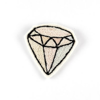 Pastel Diamond Embroidered Patch - Geometric Winter Brooch