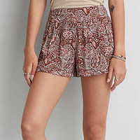 AEO Ruffled Soft Shorts, Brown