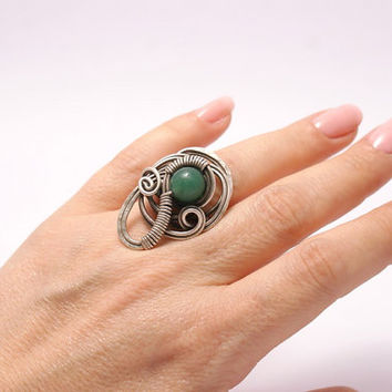 green jade ring energy wire wrapped jewelry handmade ring  adjustable ring silver ring