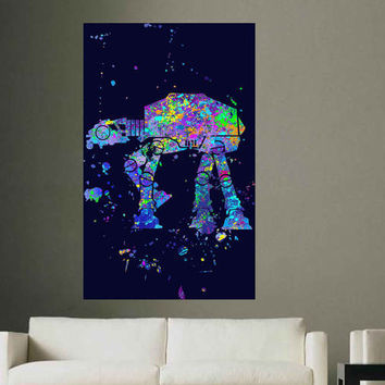 kcik1720 Full Color Wall decal poster space Watercolor paint splashes Star Wars children's room teenager