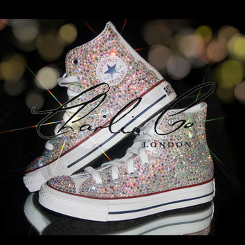 CHARLIE CO. AB Crystal Strass Swarovski & Glass Hi Top Converse Trainers