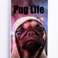 iPhone 5 Case - Hard (PC) Cover with Funny Pug Life On Galaxy Plastic Case Design