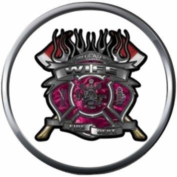 Pink Fire Axe Shield Maltese Cross Heart Firefighter Wife Thin Red Line Courage Under Fire 18MM-20MM Snap Charm Jewelry New Item