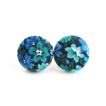 Blue button earrings - turquoise stud earrings - floral fabric earrings - gift for her - under 10
