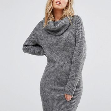 Vila Roll Neck Bodycon Sweater Dress at asos.com