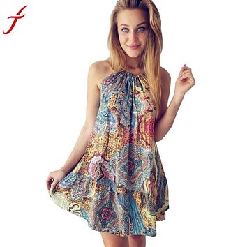 Vintage Boho Dress colorful Halter Maxi Evening Party Floral Printing Loose  Mini Beach Dress