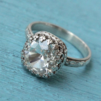 Silver ring with Swarovski 10 mm cushion cut crystal, vintage sterling silver floral band, crown setting, handmade ring, April birthstone