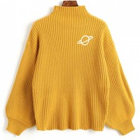 Mock Neck Planet Embroidered Sweater