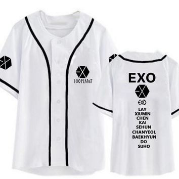 New arrival exo planet all member name printing baseball t-shirt for summer kpop exo L single breasted short sleeve t shirt