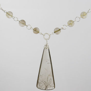 Rutilated Quartz Pendant Necklace on Beaded Strand of Rutile Quartz Beads and Silver Rings