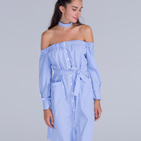 Blue Stripe Off Shoulder Choker Neck Tie Waist Midi Dress