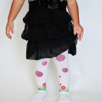 Baby Design Tights With Ladybug ,Girls Ladybird Leggings,Toddler Tights