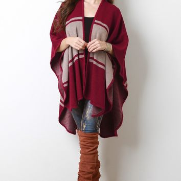 Color Block Open Front Poncho Cardigan