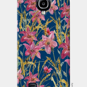 Painted Wildflowers On Blue Background Floral Samsung S4 Cases | Artist : Seema Hooda