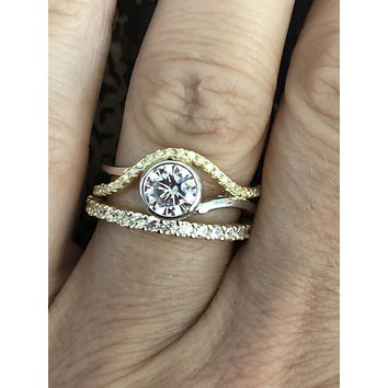 Yellow Gold Silver 1CT Round Cut Bezel Set Lab Diamond Bridal Set