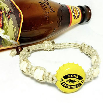 Beer Bottle Cap Macrame Bracelets/Unisex Boho Hippie Jewelry/Friendship Bracelets/Konami Brewery Co.