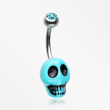 Vintage Turquoise Synthetic Skull Head Belly Button Ring