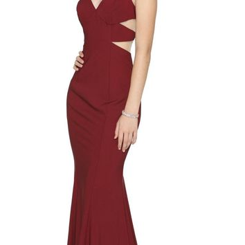 V-Neck Long Prom Dress with Sheer Side Cut-Outs Burgundy