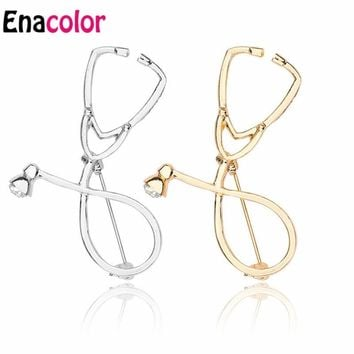 Enacolor Doctor Nurse Stethoscope Broach Pin Metal Collar Medical Denim Jacket Collar Badge Pins Button Graduation Gift
