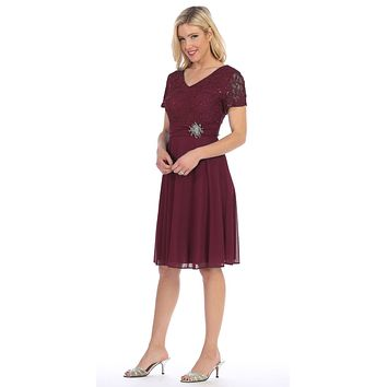 Celavie 6320 - Knee Length Plum Dress With Short Sleeves Lace Bodice