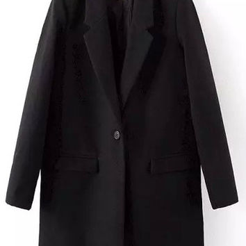 Black Single Button Flap Pockets Lapel Coat