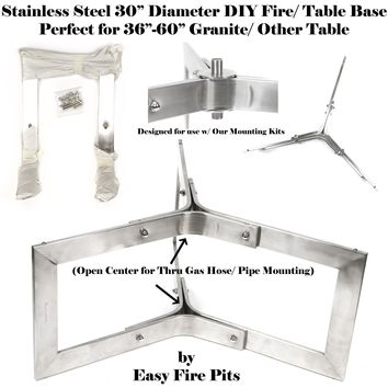"""BASE304-2PK: 2 Pack of 12"""" Tall x 30"""" Diameter Stainless Steel Outdoor Table Base/ Contemporary Fire Pit Base"""