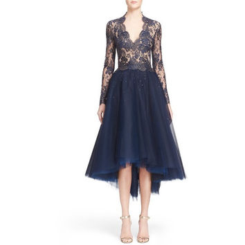 Chantilly Lace & Embellished Tulle High/Low Dress