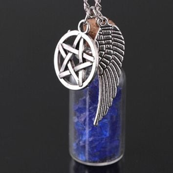 3 Colors Drift Bottle Tone Supernatural Stone Necklace Pendant Angel Wing Pentagram Star With Salt Bottle Pendant Chain Necklace
