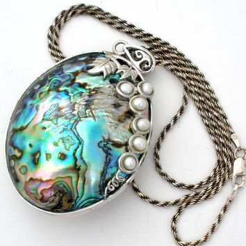 Large Abalone Shell & Pearl Necklace 925