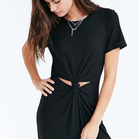 Silence + Noise Knot Front Ribbed Mini Dress - Urban Outfitters